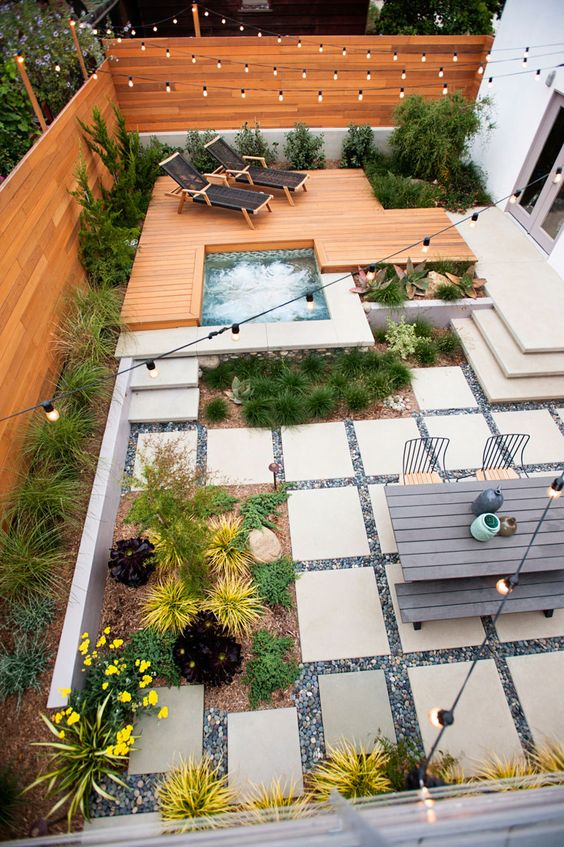This backyard layout pulls all the stops. If I had an infinite budget...maybe. But I don't, so this is helpful to me more for separation of use and general eye candy.